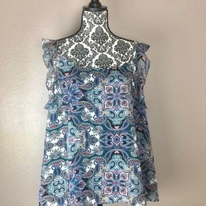 Merona Sleeveless Paisley Print Top EUC